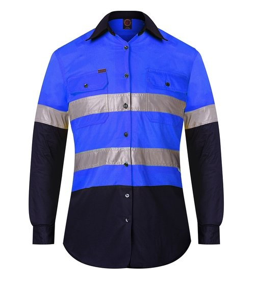 Ritemate RM208V2R Ladies Shirt Blue/Navy - Front