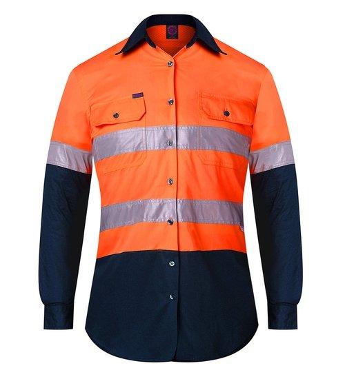 Ritemate RM208V2R Ladies Shirt Orange/Navy - Front