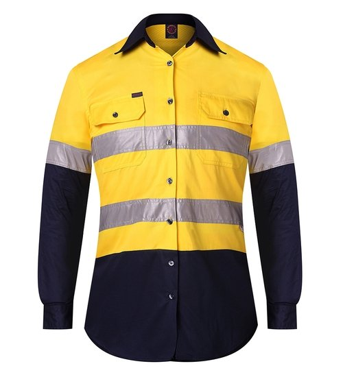 Ritemate RM208V2R Ladies Shirt Yellow/Navy - Front