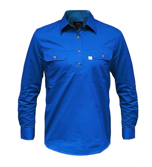 Ritemate Mens RMPCAC01 Australian Cotton Shirt Cobalt Blue - Front