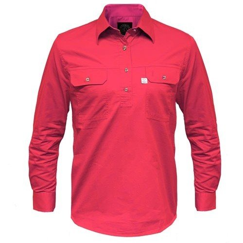 Ritemate Mens RMPCAC01 Australian Cotton Shirt Hot Pink - Front