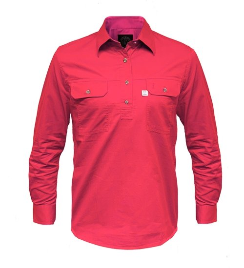 Ritemate Mens RMPCAC01 Australian Cotton Shirt Hot Pink - Front