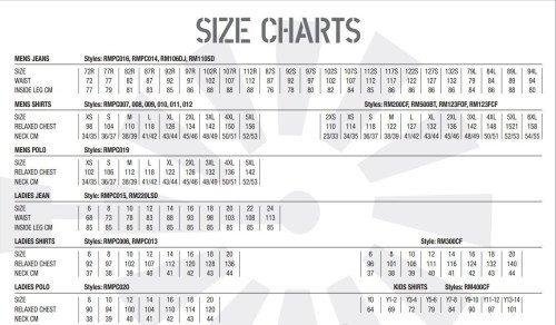 Ritemate Size Chart